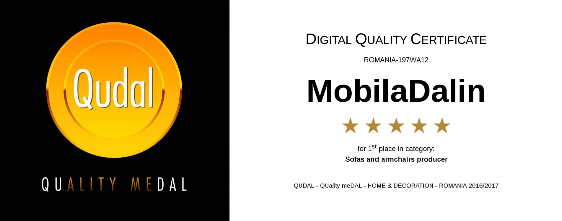 QUADAL - DIGITAL QUALITY CERTIFICATE